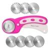 45mm Rollschneider-Set, AGPtek Pink Rollschneider mit 7 Ersatzklingen, Rundmesser & Sicherheitsverschluss für präzises Schneiden, Ideal für Abstepp-, Stoff-, Leder-, Näharbeiten & mehr - EINWEG - 1