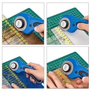 Cozywind 45mm Rollschneider Set Stoffschneider,Rundklingen Cutter Rollmesser inkl Ersatzklingen,Schneidematte/Schneideunterlage,Patchwork-Lineal für Stoff, Papier, Leder - 7