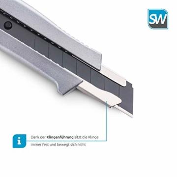 SolidWork Profi Cuttermesser aus hochwertigem Aluminium – Teppichmesser mit Sicherheitslock und ultra scharfer Klinge - 2