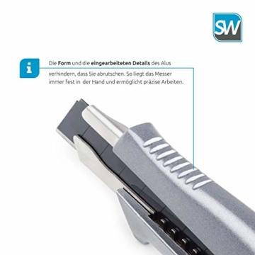 SolidWork Profi Cuttermesser aus hochwertigem Aluminium – Teppichmesser mit Sicherheitslock und ultra scharfer Klinge - 4