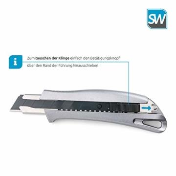 SolidWork Profi Cuttermesser aus hochwertigem Aluminium – Teppichmesser mit Sicherheitslock und ultra scharfer Klinge - 5