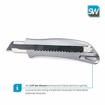 SolidWork Profi Cuttermesser aus hochwertigem Aluminium – Teppichmesser mit Sicherheitslock und ultra scharfer Klinge - 6