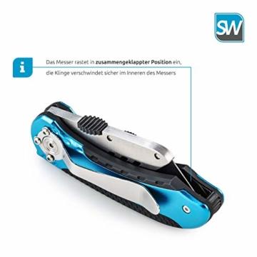 SolidWork Profi Cuttermesser inkl. ultra scharfen Ersatzklingen – klappbares Teppichmesser mit Sicherheitslock und Gürtelclip - 2