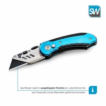 SolidWork Profi Cuttermesser inkl. ultra scharfen Ersatzklingen – klappbares Teppichmesser mit Sicherheitslock und Gürtelclip - 4