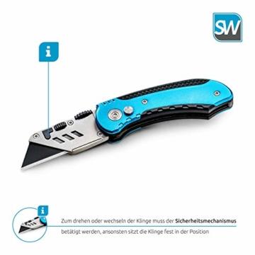 SolidWork Profi Cuttermesser inkl. ultra scharfen Ersatzklingen – klappbares Teppichmesser mit Sicherheitslock und Gürtelclip - 5
