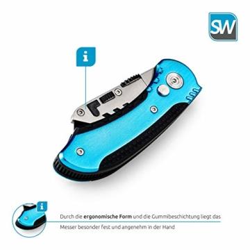 SolidWork Profi Cuttermesser inkl. ultra scharfen Ersatzklingen – klappbares Teppichmesser mit Sicherheitslock und Gürtelclip - 7