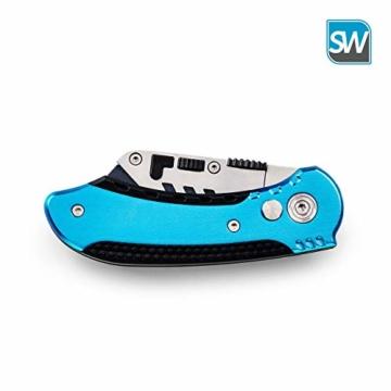SolidWork Profi Cuttermesser inkl. ultra scharfen Ersatzklingen – klappbares Teppichmesser mit Sicherheitslock und Gürtelclip - 8